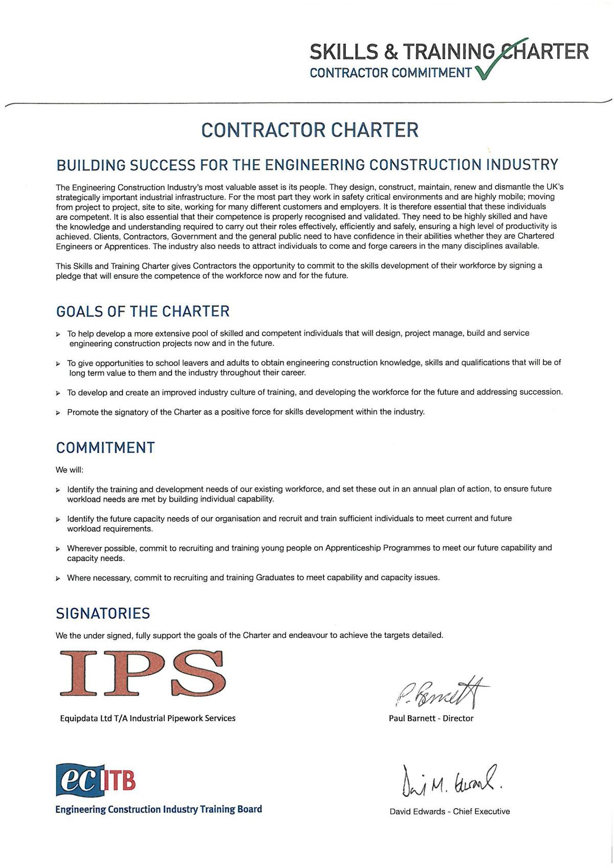 ECITB Regional Manager David Lewis presenting Skills & Training Charter to IPS Operations Director Paul Barnett.